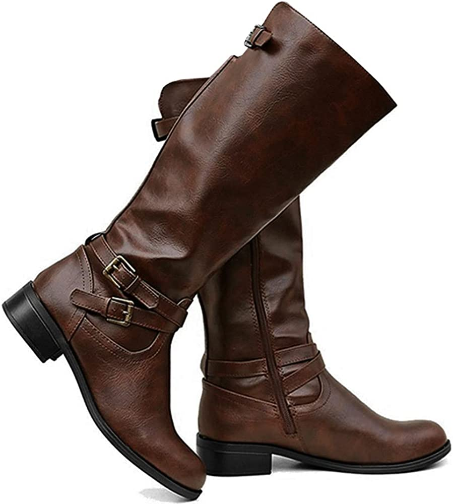 Ermonn Womens Knee High Boots Chunky Low Flat Heel Side-Zip Back Lace-Up Faux Leather Riding Footwear