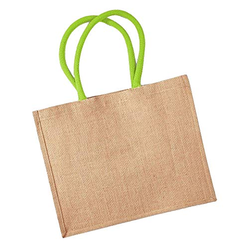 Westford Mill Classic Jute Shopper, Natural / Lime Green, 42 x 33 x 19 cm