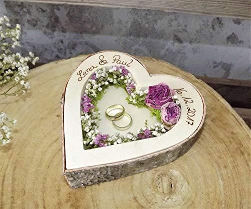 Hochzeit Ringkissen Ringhalter Herz Mille Fleurs Holzherz für Eheringe mit Namen