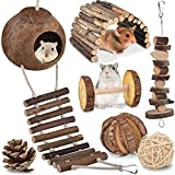 KATUMO Hamster Toys, Natural Coconut Hamster Hideout with Ladder, Hamster Suspension Bridge Climbing Ladder, Natural Wooden Chew Toys for Dwarf Syrian Hamster Mice Gerbils Small Rodent Animals