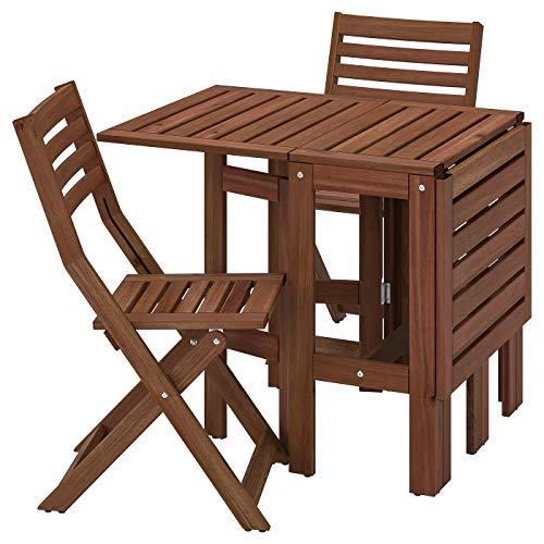 IKEA (イケア) APPLARO エップラロー テーブル+折りたたみチェア2 屋外用 ブラウンステイン 393.265.40