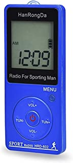 Digital Media Players HRD-602 Digital Display FM AM Mini Sports Radio with Step Counting Function (Black) (Color : Blue)