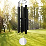 ASTARIN Large Wind Chimes Outdoor Deep Tone,45Inch Sympathy Wind Chimes Amazing Grace with 6 Tubes Tuned Relaxing Melody,Memorial Wind Chimes Large for Mom,Garden Decor,Black