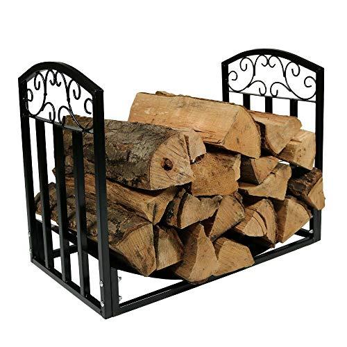 Great Price! 2 Feet Steel Rack Storage Holder Wood Log Firewood Indoor Outdoor Backyard Heavy Duty F...
