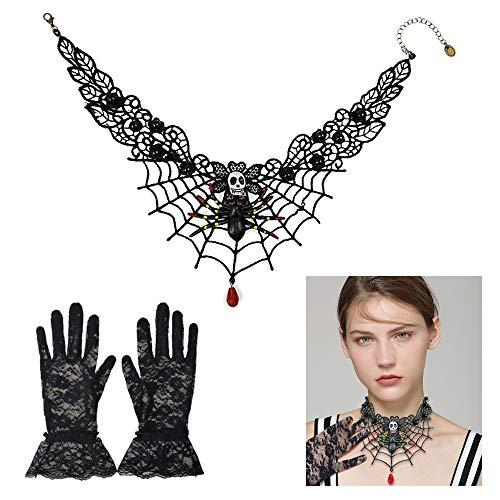 Lifreer Das Halloween-Kostüm-Set Tag der Toten enthält 1 PC Schwarze Spitzen-Choker-Perlen-Kette, Skelett-Spinnen-Halskette und 1 Paar Kurze Spitzenhandschuhe für Frauen, Mädchen