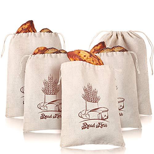5 Paquetes Bolsas de Pan de Lino Bolsas de Productos Naturales con Cordón Reutilizables para Almacenamiento de Alimentos de Pan Casero Gran Pan y Baguette, 12 x 16 Pulgadas