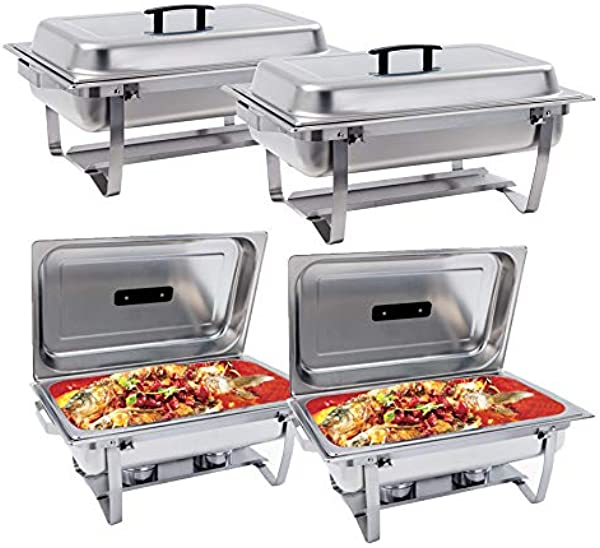 SUNCOO 8 Quart Chafing Dish Buffer Chafer Stainless Steel Full Size Chafer Dish Catering Buffet Food Warmer Set Rectangular Chafer W Water Pan Food Pan Fuel Holder And Lid With Folding Frame 4 Packs