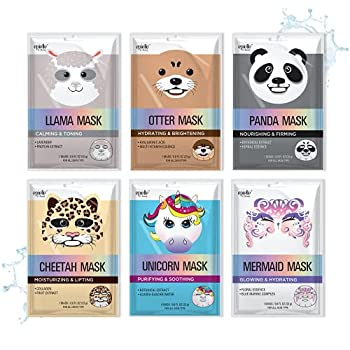 Epielle Character Sheet Masks | Animal Spa Mask | -For All Skin Types |spa gifts for women Spa Gift Birthday Party Gift for her kids Spa Day Party Girls Night  Assorted Character Mask-6pk A