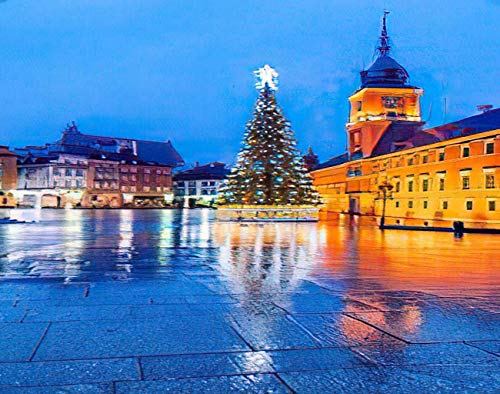 MQPPE Baroque Landscape 5D DIY Diamond Painting Kits, Warsaw Poland Christmas Tree in Castle Polish Old Town Capital Full Drill Painting Arts Set Craft Canvas for Home Wall Decor Adults Kid, 12' x 16'
