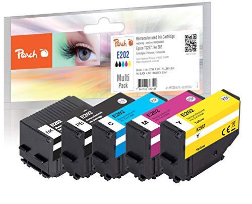 Peach E202 Spar Pack Druckerpatronen (BK, PBK, C, M, Y) ersetzt Epson T02E7, No. 202, C13T02E74010 für z.B. Epson Expression Premium XP -6000, Epson Expression Premium XP -6005