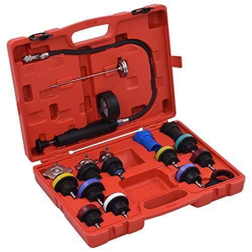 vidaXL Kühlsystem Prüfgerät Tester Kühlmittel Pumpe Kühler Drucktester Werkzeug Vakuum Abdrückgerät Prüfer mit Kunststoffkoffer 18-tlg.