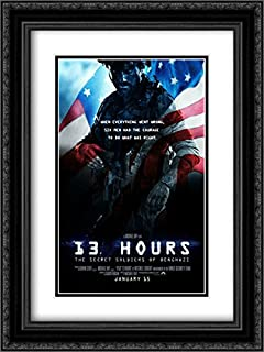 13 Hours : The Secret Soldiers of Benghazi 18x24 Double Matted Black Ornate Framed Movie Poster Art Print