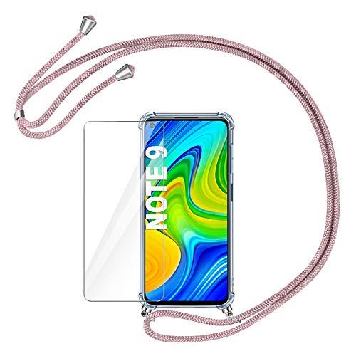 AROYI Funda con Cuerda Compatible con Xiaomi Redmi Note 9 y Protector Pantalla, Carcasa Transparente TPU Silicona Case con Ajustable Correa de Cordón Compatible con Xiaomi Redmi Note 9, Oro Rosa