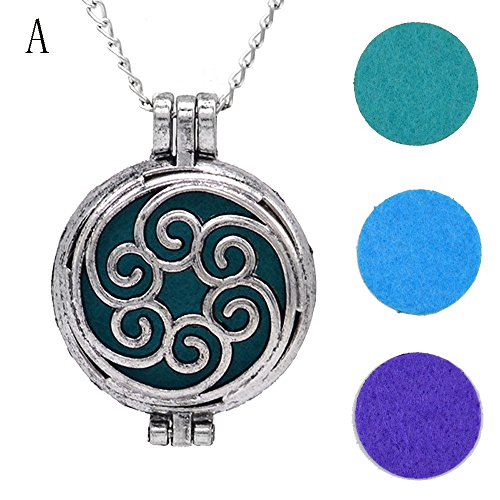 jieGorge Vintage Locket Essential Oil Diffuser Necklace And Pad Fragrance A , Necklaces & Pendants , Products for Xmas Day (A)