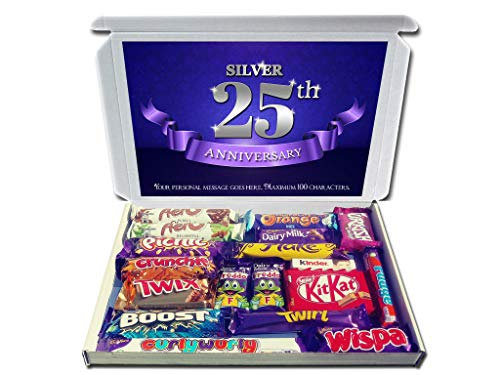 Personalised Silver 25th Wedding Anniversary Gift Hamper Chocolate Selection Box