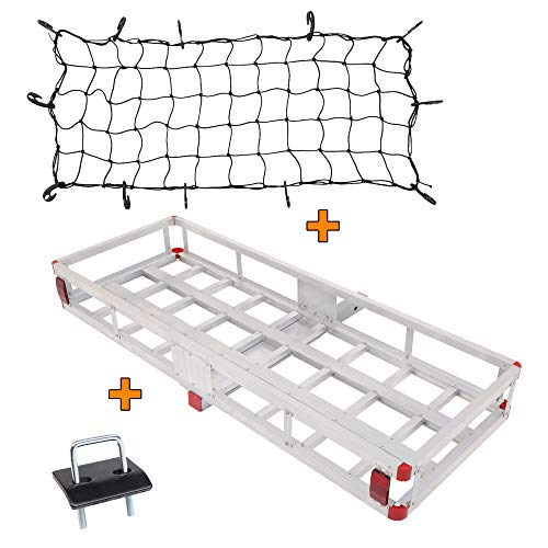 "Tuffiom 60""x 22"" Hitch Mount Aluminum Cargo Carrier with Net, Stabilizer, Hauling 500 Lbs Capacity Steel Luggage Basket, for SUV, Truck, Car, Silver"