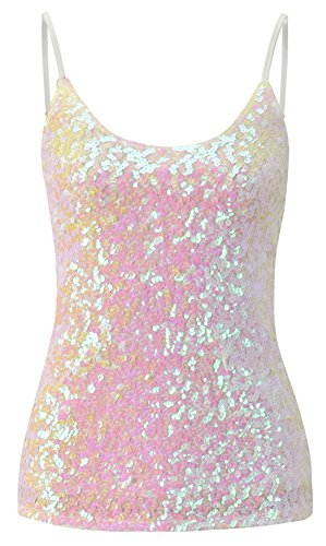 Howriis Women's Pink White Sequins Summer Short Camisole Tank Tops (One Size, Pink White)