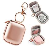 Airpods Case Keychain, Airpods Pro Case, Airpod Charging Protective Case, Earbud Case, PU Leather Hard case, Portable Carrying Case with Metal Clasp and Keychain Compatible with Apple AirPods earphone