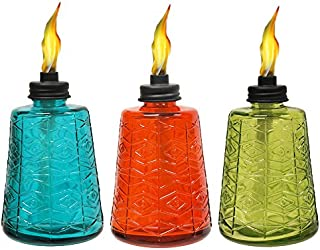 TIKI 6-Inch Molded Glass Table Torch, Red, Green & Blue...