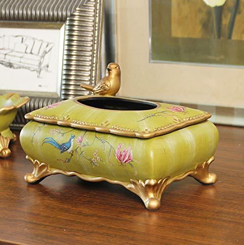 PORCN American Retro salón Mesa de café de cerámica Caja de pañuelos...
