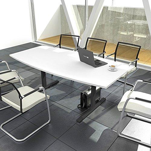 Weber Büroleben GmbH Easy Konferenztisch Bootsform 180x100 cm Weiß Besprechungstisch Tisch, Gestellfarbe:Anthrazit