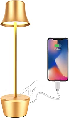 LED Cordless Table Lamp, USB Reading Lamp with 6000 mAh Rechargeable Battery, 2 Levels of Brightness Adjustment, Metal Bedside Lamp for Study, Living Room, Bar, Cafe (Golden)