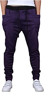 Mogogo Mens Straps Relaxed-Fit Mid-Rise Solid Color Harem Pants Jogger Sport Pants