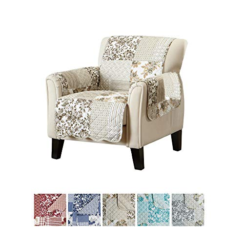 Patchwork Scalloped Printed Furniture Protector. Stain Resistant Chair Cover. (Chair, Taupe)