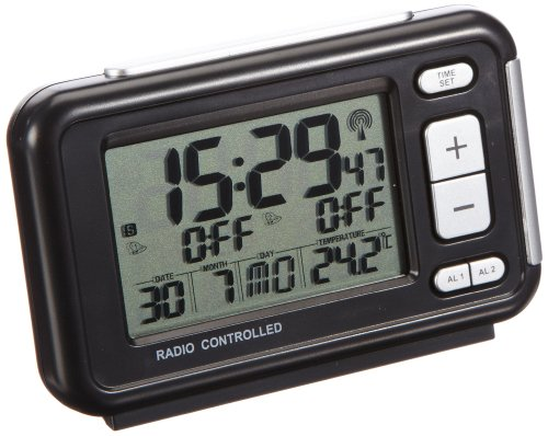 TFA Dostmann 60.2500 digitale wekker, met 2 wektijden, met temperatuur/weekdag/datum, 12,8 x 12,6 x 4,8 cm, zwart