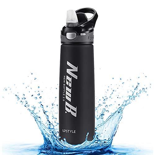 welltop Trinkflasche Sport 750ml Wasserflasche mit Flip Straw Auslaufsichere Gymnastikflasche Große auslaufsichere BPA-freie Trinkwasserflaschen aus Tritan-Kunststoff für Sport Radfahren Laufen Yoga