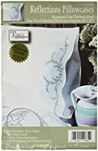 Tobin Stamped Pillowcase Pair for Embroidery, 20 by 30-Inch, Reflections