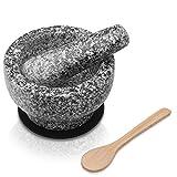 OLIDAN ® Granit Mörser mit Stößel im Set mit schützender Unterlage, Holzlöffel und kostenfreiem E-Book - Mörser und Stößel sind aus massivem und geschmacksneutralen Granit - Gewürz Mörser