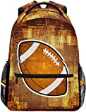 Resumen Mochila Escolar de fútbol Americano Mochila Impermeable para el Hombro, Bolso para computadora portátil con Bola Vintage Paquete de día Informal Bolsas Deportivas para Viajes al Aire Libre
