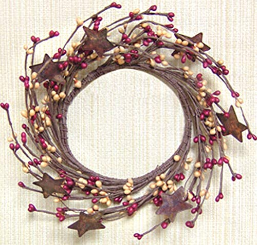 Maryn for Wreath Candle Ring 4' Diameter - Pip Berry in Burgundy & Gold - Rusty Tin Stars DIY for Home Décor Plaques & Signs, Floral Décor