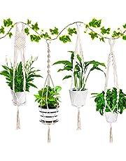 Emooqi Macramé plantenhanger, katoenen touw, hanglamp, bloempot, robuust, macramé, plantenhouder, bloemenhanger, 4 poten, 103 cm, handgeweven, plantenhanger voor balkon, tuindecoratie, 4 stuks