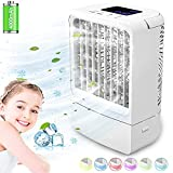 Portable Air Conditioner Fan, Portable AC Fan, Cooling Fans, Personal Air Cooler Mini with Timing, 7 Colors Light, 3 Speeds Quiet Air Humidifier, for Room, Home, Office