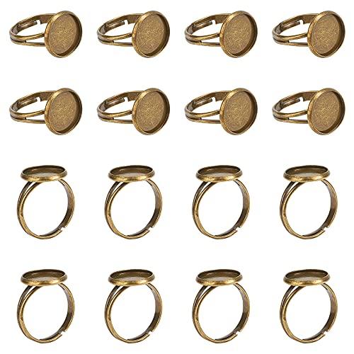 PandaHall 40pcs Support Bague réglable, Composants de Bague 12mm Plateaux à Anneaux Ronds Base de Bague pour cabochons de 10 mm, Bronze Antique