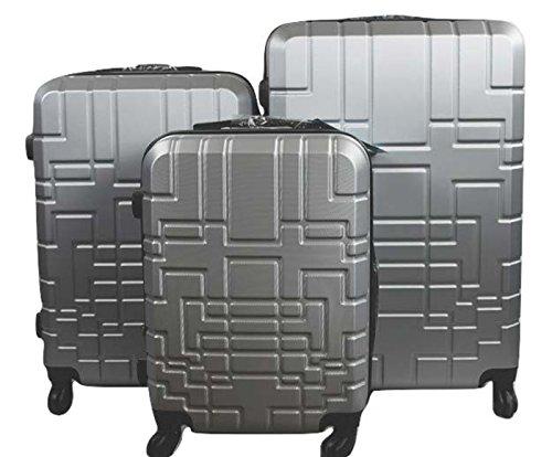 Orlacs modello Dublin 5 -Set valige Trolley da 3 pezzi,doppia ZIP ampiezza, materiale ABS e policarbonato con 4 ruote girevoli 360° gradi colori vari (Argento)
