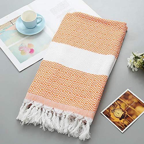 WLQCPD Handdoek,Sport badhanddoek met kwast zachte badstof volwassen strandlaken extra grote peshtemal vrouwen winter sjaal, oranje ruit, 100x180cm
