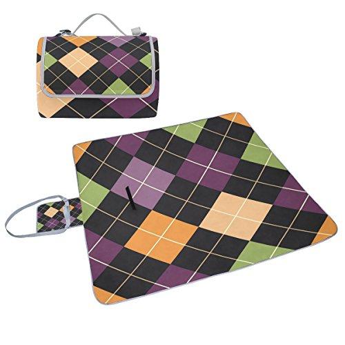 COOSUN Patchwork-Muster Box Picknick-Decke mit Matte Schimmel resistent und wasserdicht Camping-Matte für rving, Picknickdecke, Strand, Wandern, Reisen und Ausflüge