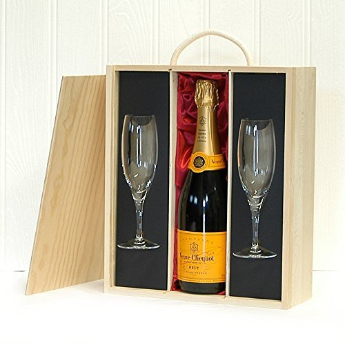 750ml Veuve Clicquot Champagne & Glass Flutes Presented in a Wooden Box