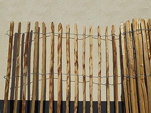 STILTREU Staketenzäune Staketenzaun Kastanie Höhen 50 cm - 200 cm, 5 Meter Rolle, 3 Versch. Lattenabstände (Länge x Höhe: 500 x 122 cm, Lattenabstand: 8-10 cm)