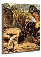 カール・ボドマーによるマンダン・インディアン 油絵 複製画 絵画 インテリア アートフレーム 複製絵 絵画 プレゼント-リビング、ダイニング、寝室、お風呂、オフィス、バー(35x49cm-14x19インチ,フレーム)