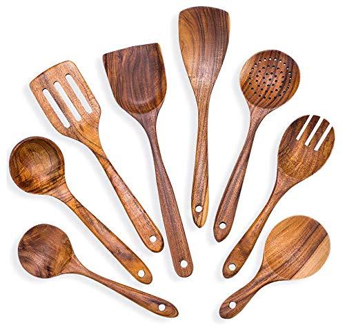 Haudang 8 StüCk Kochen L?Ffel Set Teak Kochen Geschirr Set Holz KüChe Kochen Geschirr Slet KüChen Ger?T Gadgets Set