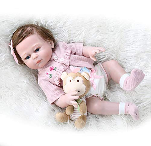 "LIUXINYUE-MZ Pinky Reborn Baby Dolls Soft Silicone Vinyl 19"" 48cm Lifelike Reborn Baby Girl That Look Real Newborn Dolls Best Companionship Brown Eyes"
