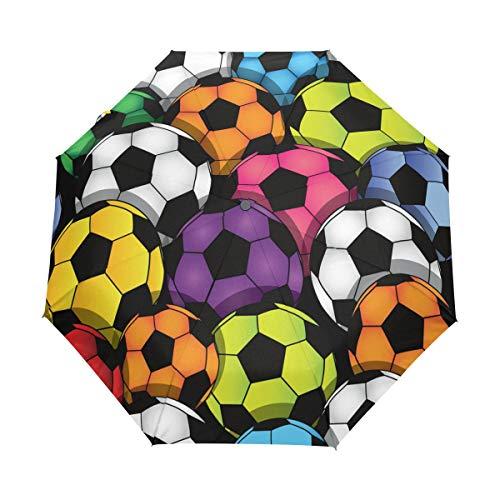 Faltbarer Automatikschirm, bunt, Fußball, kompakt, Reisesonnenschirm, winddicht, regendicht, mit schwarzer Anti-UV-Beschichtung