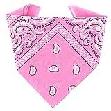 ...KARL LOVEN - Bandana 100% algodón - Paisley Rosa - Pañuelo para el cuello, cabeza bufanda para hombre, mujer y niño muñeca Pulsera motociclista Deportiva