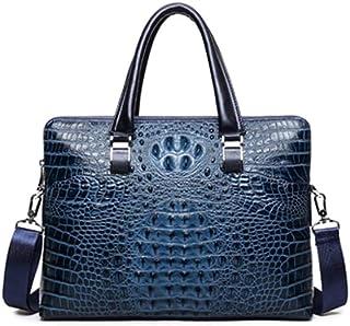 GLJJQMY Leather Crocodile Briefcase Men's Handbag Top Layer Leather Shoulder Business Bag 38x8x29cm Briefcase (Color : Dark Blue)