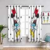 Cortinas opacas con estampado de Mickey Minnie Mouse para dormitorio, cortinas de 160 cm de largo Mick-ey Mou-se para habitación de niñas, pantalla insonorizada de 163 cm de ancho x 63 cm de largo
