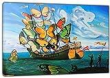 HYFBH Arte de la Lona Impresión Barco Mariposa Pintura al óleo Salvador Dali Lienzo Arte de la Pared Imagen Decoración del hogar Lienzo Pintura 60x80cm (23.6x31.5 Pulgadas) con Marco